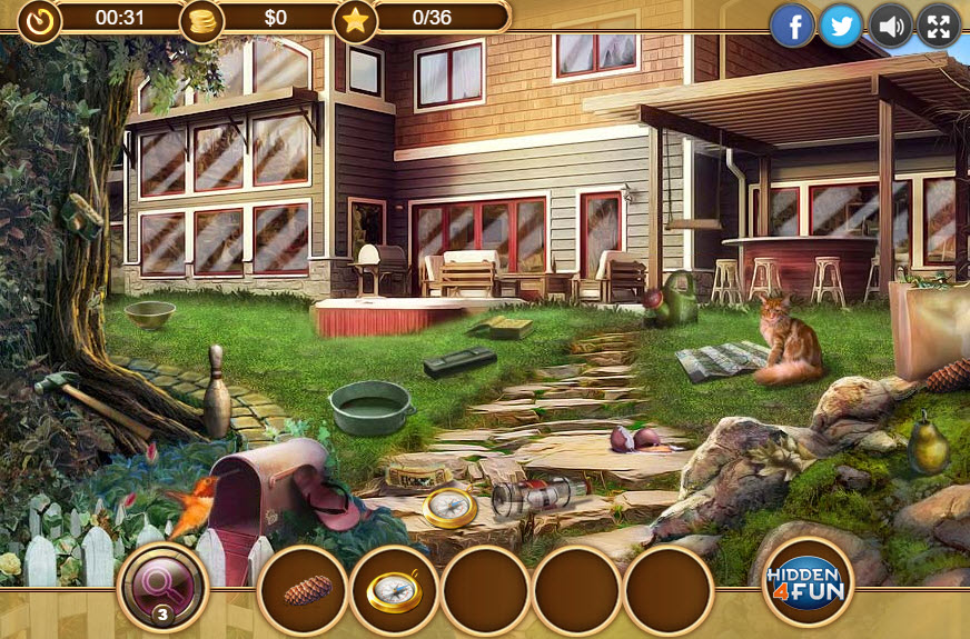 Lucky Dog Hidden Object Game yard