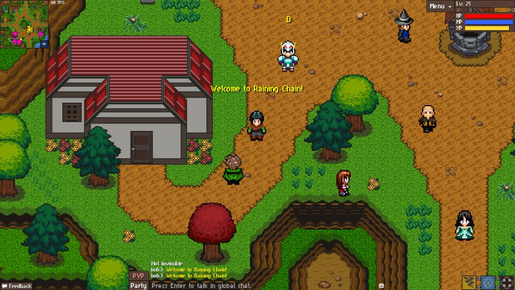 Raining chain free HTML5 MMORPG town